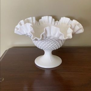 mid century milk glass ruffled hobnail fruit bowl
